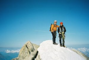 Joseph and guide and friend Yves Lagesse, Aiguille du Chardonnet, French Alps]